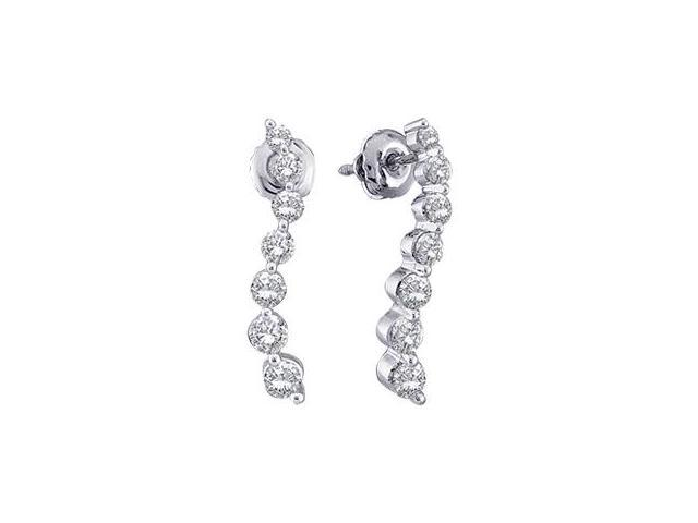 Journey Diamond Earrings 14k White Gold Round 1 2 Carat