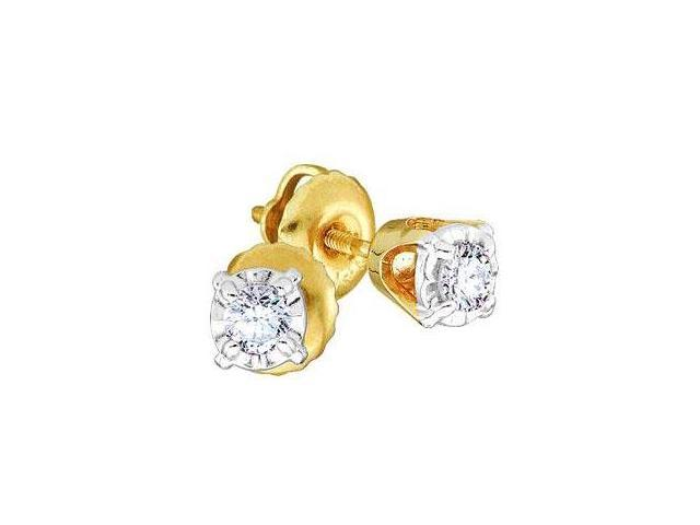 Solitaire Diamond Earring Studs Round 14k Yellow Gold 1 4 Carat