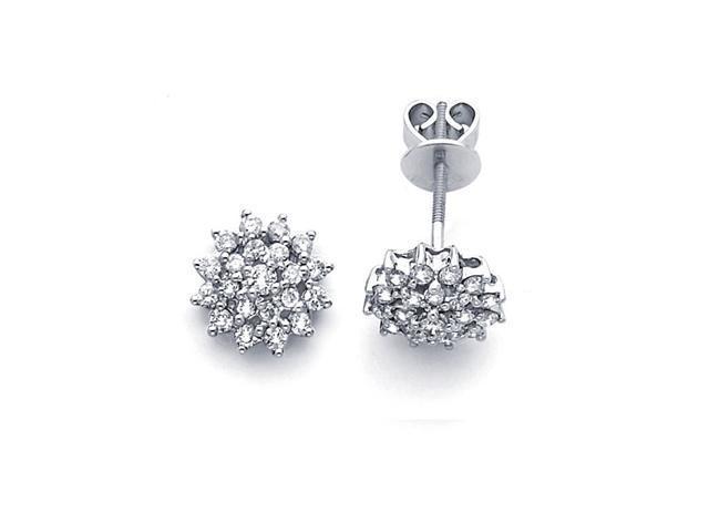 Cer Diamond Earring Studs 14k White Gold Flower Design 3 4 Carat