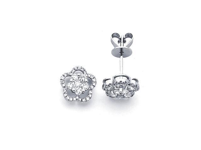 Flower Diamond Earring Studs 18k White Gold Cer Design 1 2 Carat