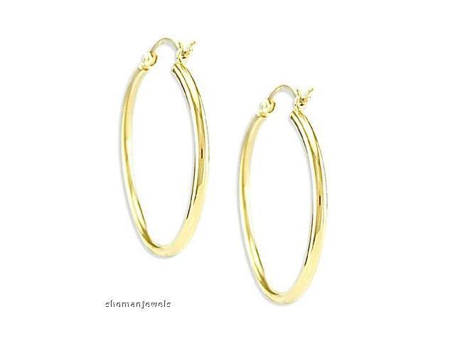 6962f6c41ecaf Hoop Earrings 14k Yellow Gold Classic Large 1.00 inch - Newegg.com