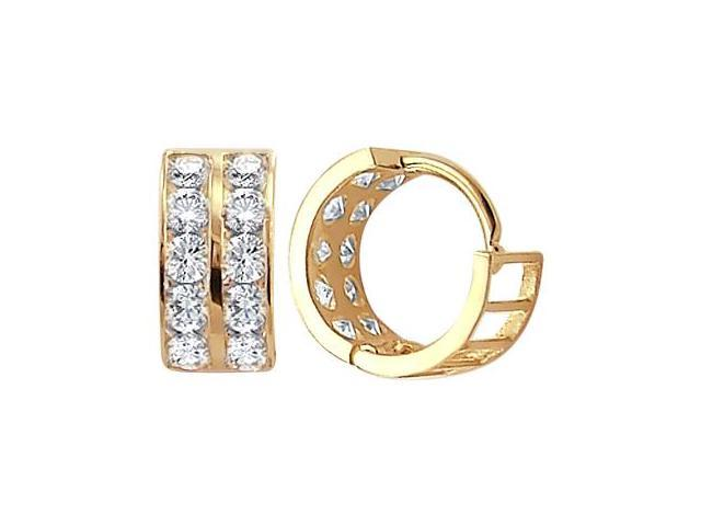 14k Yellow Gold Hoop Earrings Round Cz Cubic Zirconia Huggie Men Lady