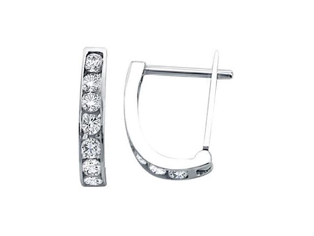 Hoop Earrings 14k White Gold Cz Cubic Zirconia U Shape Design