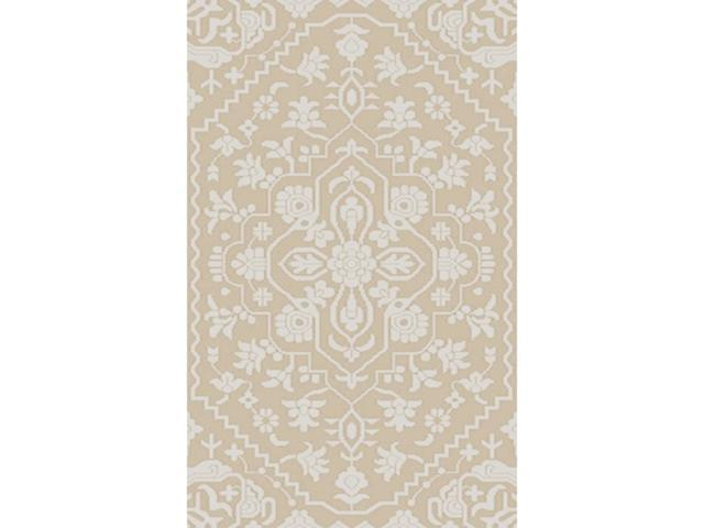 4' X 6' Labyrinth Meadow Tan Brown And Light Gray Wool