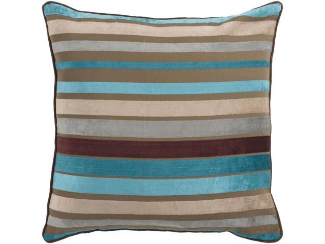 """22"""" Bright And Vibrant Brown And Teal Striped Decorative"""