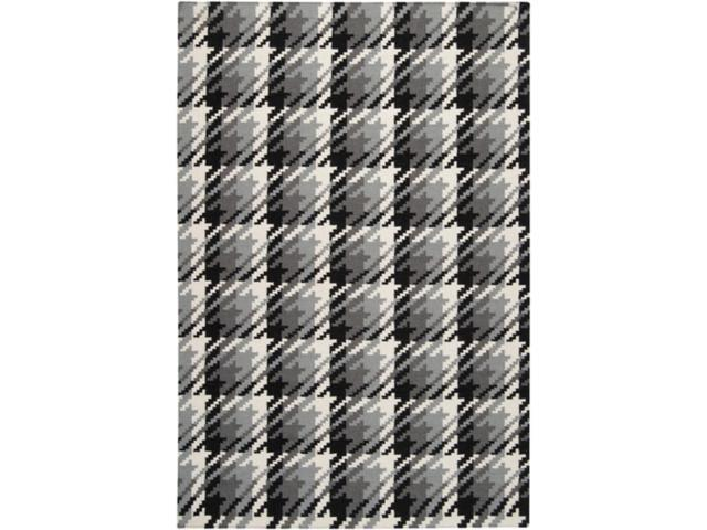 5 X 8 Gray Gradiance Houndstooth Black White And Gray