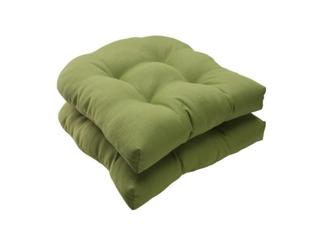 """Set Of 2 Solid Olive Green Tufted Outdoor Patio Wicker Seat Cushions 19"""""""