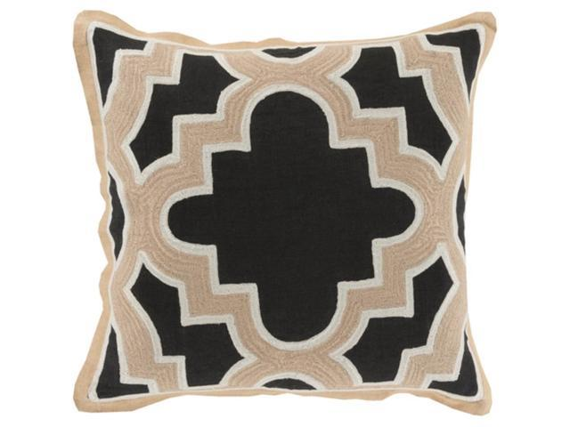 "20"" Royal Puzzle Jet Black and Beige Decorative Throw ..."