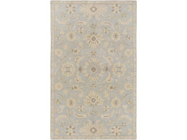 Grey Tan And Brown Area Rug: 4' X 6' Elegant Leaves Slate Gray And Tan Brown Wool Area