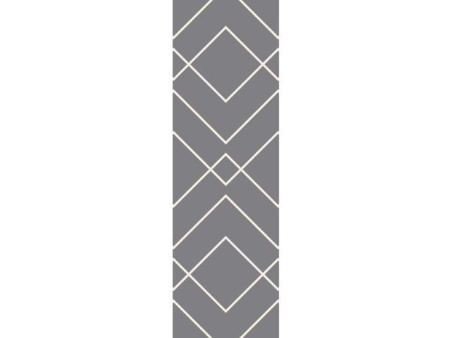 2.5' X 8' Lively Masonry Misty Gray And White Area Throw