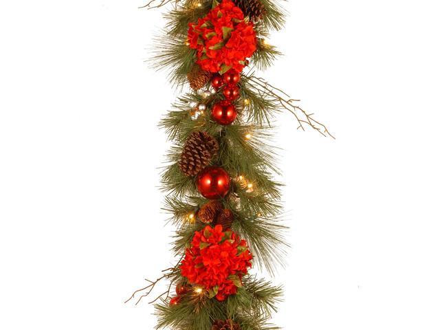 9 X 12 Pre Lit B O Led Hydrangea Artificial Christmas Garland Warm White Lights Newegg Com