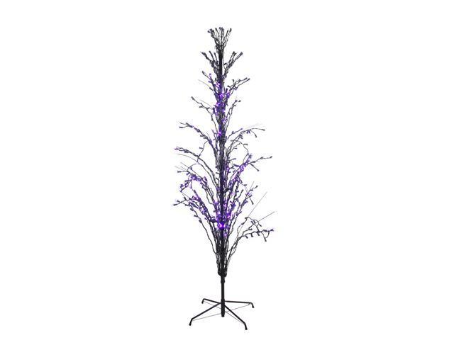 6' Purple LED Lighted Halloween Cascade Twig Tree Outdoor Decoration