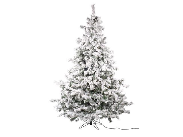 Set Of 2 Pre Lit Flocked Layered Utica Fir Artificial Christmas Tree Multi Lights 7 5 Newegg Com