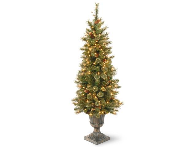4' Pre-lit Potted Berries and Cones Medium Artificial Christmas Tree – Clear Lights