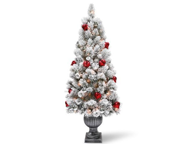 5' Pre-lit Potted Snowy Bristle Pine Entrance Artificial