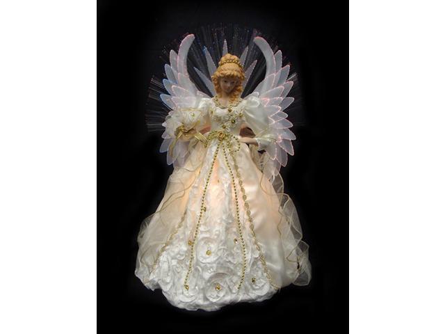 "19"" Lighted Cream And Gold Fiber Optic Angel Christmas"