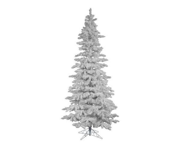 7.5' Flocked White Spruce Slim Artificial Christmas Tree