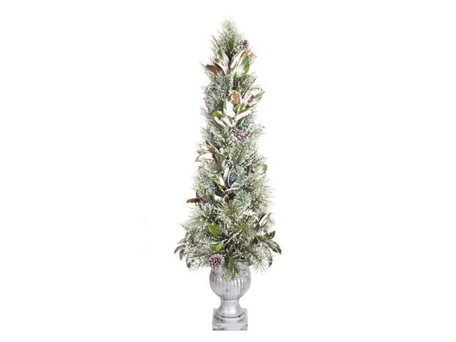 Christmas Topiary.60 Potted Green Frosted Pine And Berry Christmas Topiary Unlit Newegg Com