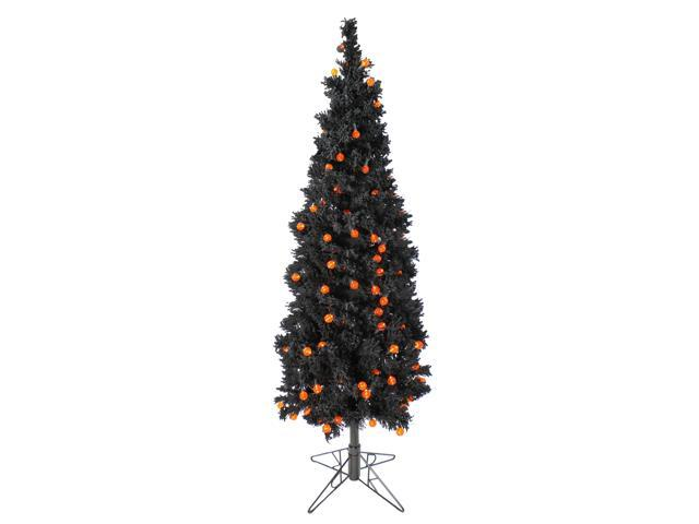 6 5 Pre Lit Black Flocked Artificial Halloween Tree Orange G25 Led Lights Newegg Com
