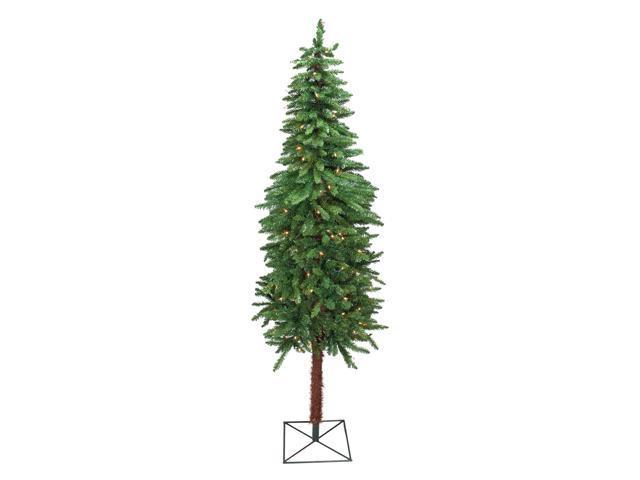 7' Pre-Lit Slim Two-Tone Alpine Artificial Christmas Tree
