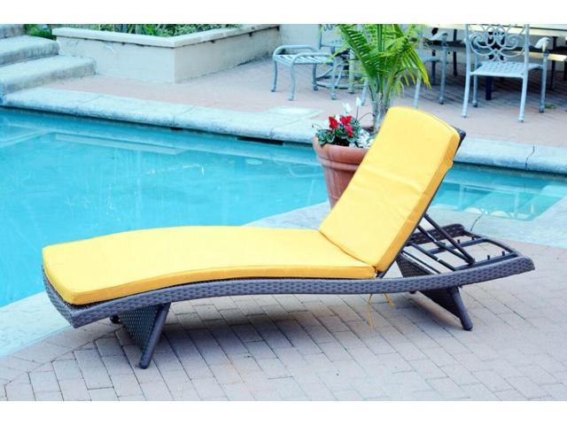 4 Adjule Espresso Resin Wicker Outdoor Patio Chaise Lounge Chairs Yellow Cushions Newegg