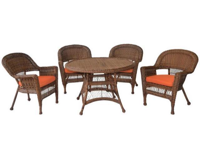 5 Piece Honey Resin Wicker Chair Table Patio Dining Furniture Set Orange Cushions Newegg Com