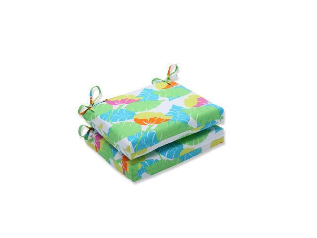 Set Of 2 Key Lime Green And Dove White Outdoor Patio Seat Cushions 18 5 Newegg Com