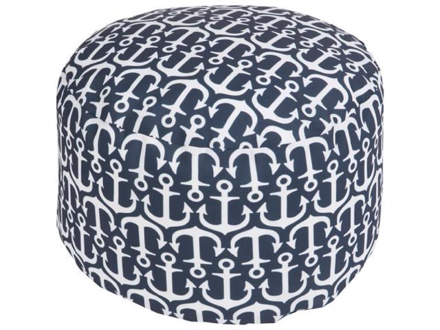 Phenomenal 13 Navy Blue And Ivory Anchor Away Round Outdoor Patio Pouf Ottoman Newegg Com Machost Co Dining Chair Design Ideas Machostcouk