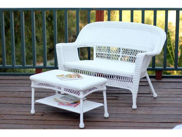 Cool 2 Piece Aurora White Resin Wicker Patio Loveseat And Coffee Table Furniture Set Newegg Com Theyellowbook Wood Chair Design Ideas Theyellowbookinfo