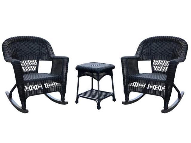 3 Piece Tiana Black Resin Wicker Patio Rocker Chair And Table Furniture Set    Newegg.com