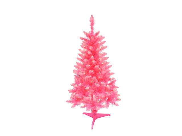 Pink Artificial Christmas Tree.4 Pre Lit Fashion Pink Pine Artificial Christmas Tree Clear Lights Newegg Com