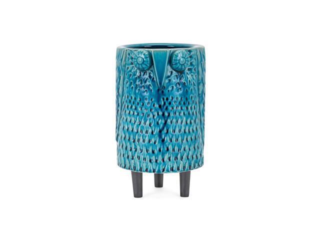 10 Turquoise Blue Glaze Finish Decorative Owl Themed Medium Vase Tabletop Decor