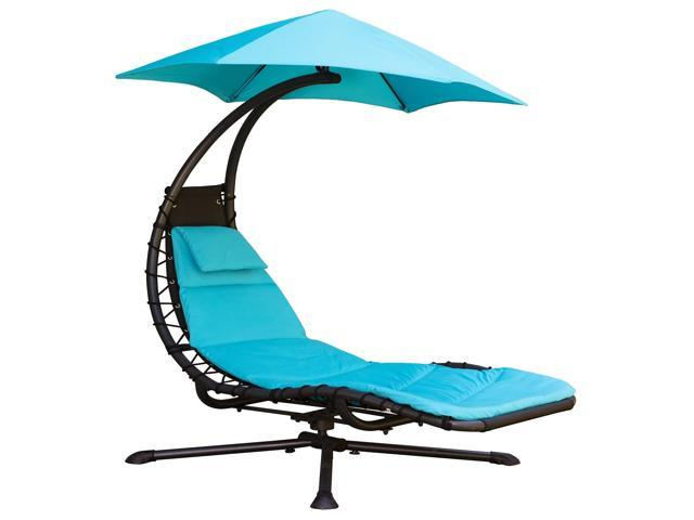 Fine 74 Blue Outdoor Lounge Chair With An Umbrella Pivots 3600 Newegg Com Dailytribune Chair Design For Home Dailytribuneorg