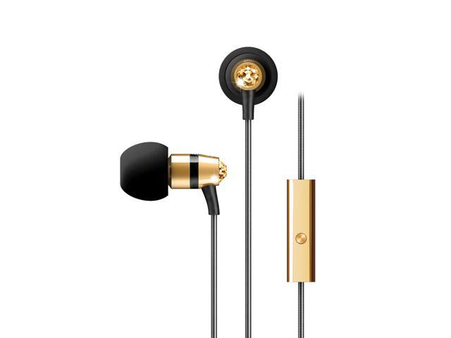 Mee audio Gold EP-M11J-GD-MEE 3.5mm Connector In-Ear Headphones with Microphone Made with Swarovski Crystals