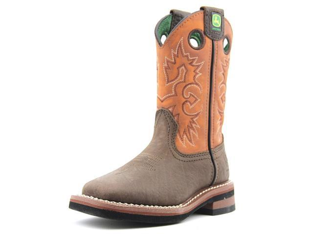 aef95e490 John Deere Western Boot Boy Pull On Square Toe 10.5 Child Brown JD2319
