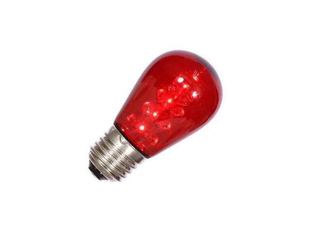 vickerman 34658 s14 medium screw base red transparent led christmas light bulb x14st13