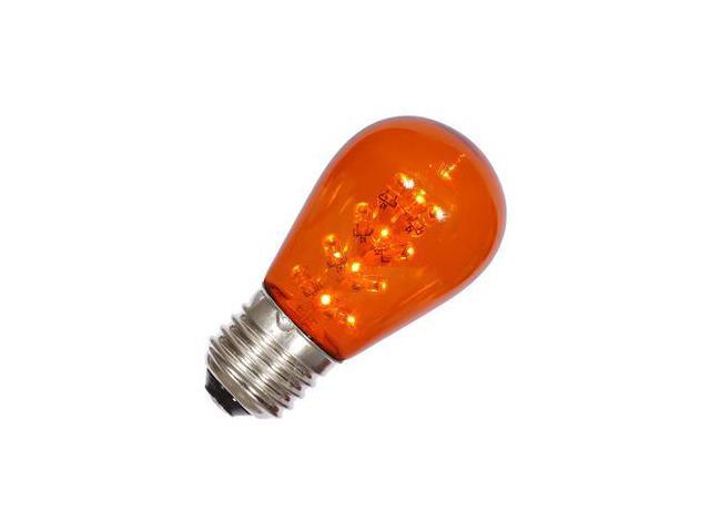 vickerman 34662 s14 medium screw base amber transparent led christmas light bulb x14st18