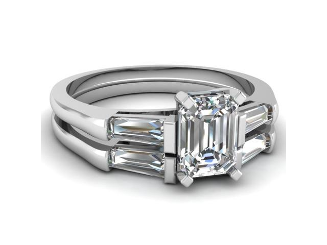 1 Ct Emerald Cut 3 Stone Tapered Baguette Classic Engagement Ring