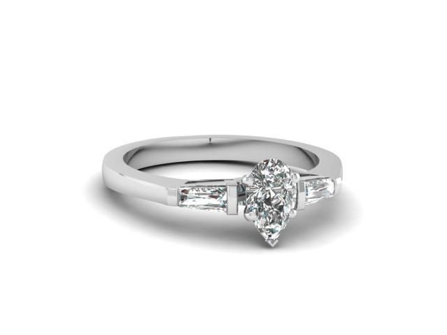 10k or 14k Yellow Gold Pear Shaped CZ Engagement Ring with Side Baguettes