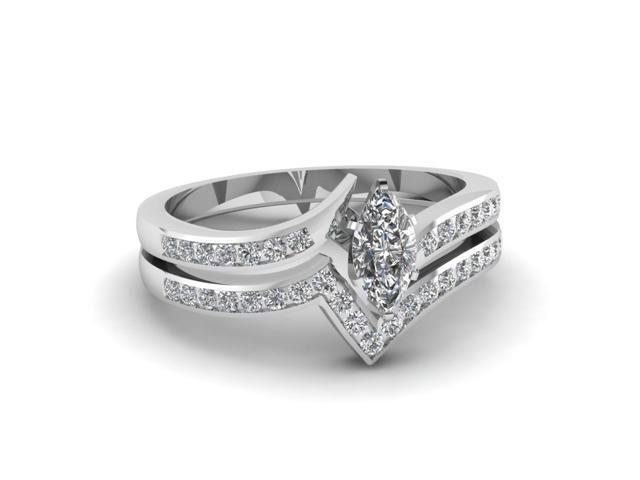 Fascinating Diamonds Open Zee Shaped Wedding Rings Set 0 75 Ct