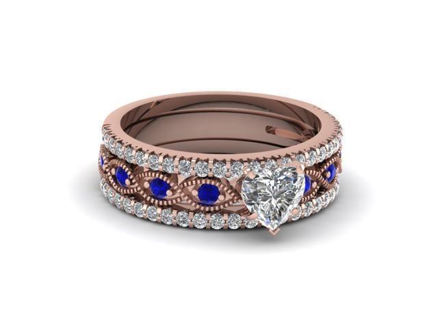 V-MONI European and American Style Heart Shaped Zircon Ring Blue 8