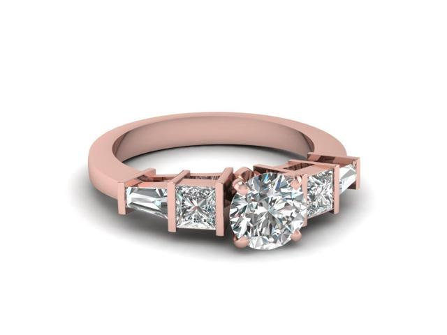 1 25 Ct Round Cut Untreated Diamond Rose Gold Simple Bar Set Engagement Ring Gia H Color Vs2 Clarity Newegg Com