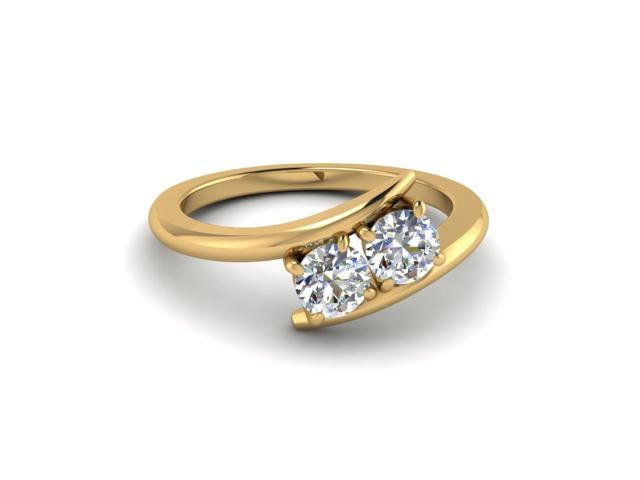 Yellow Gold Two Stone 0 65 Carat Round Diamond Simple Engagement Ring Newegg Com