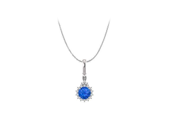 Round Halo Blue Sapphire /& Cubic Zirconia .925 Sterling Silver Earring /& Pendant