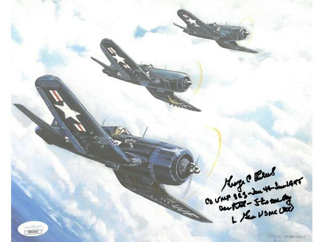 George C  Axtell signed WWII Corsair Vintage Color 8x10 Photo Ace Pilot- 5  in One Day- JSA Hologram #DD64541 - Newegg com