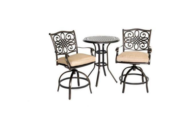 Astonishing Hanover Traddn3Pcsw Br 30 In Traditions High Bistro Table Set 3 Piece Customarchery Wood Chair Design Ideas Customarcherynet