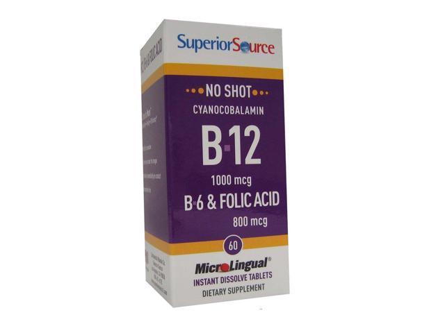 B12 1000 mcg (as Cyanocobalamin)/B6 2 mg/Folic Acid 800 mcg