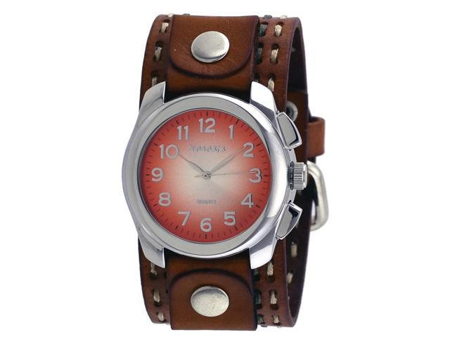 Nemesis lbdt091n men 39 s wide brown leather cuff band gradient orange dial watch for Gradient dial watch