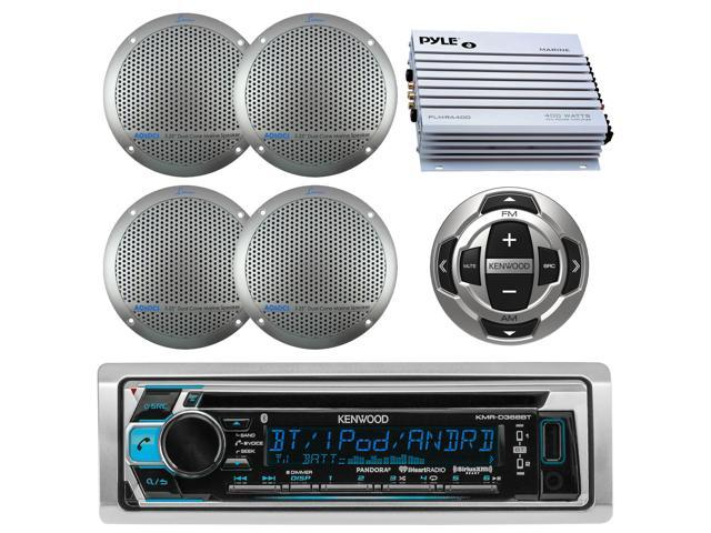 """Kenwood Bluetooth USB AUX Radio Marine 5.25/"""" Speakers 400W Marine Amplifier"""