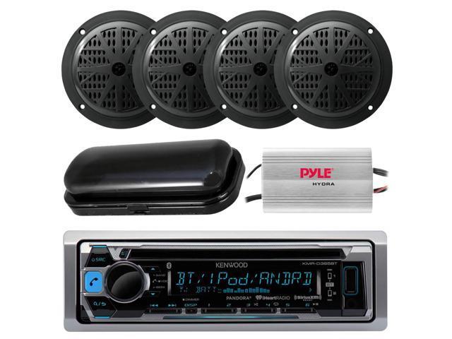Antenna New Marine Kenwood Radio CD USB AUX+Black Box Speakers Cover 800W Amp